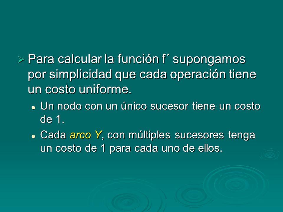 Para calcular la función f´ supongamos por simplicidad que cada operación tiene un costo uniforme.