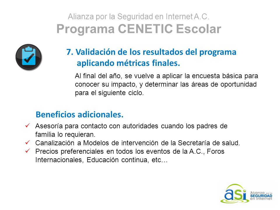 Alianza por la Seguridad en Internet A.C. Programa CENETIC Escolar