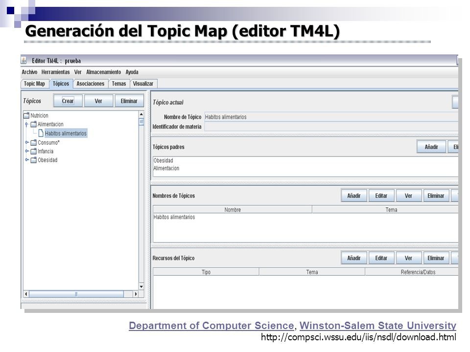 Generación del Topic Map (editor TM4L)