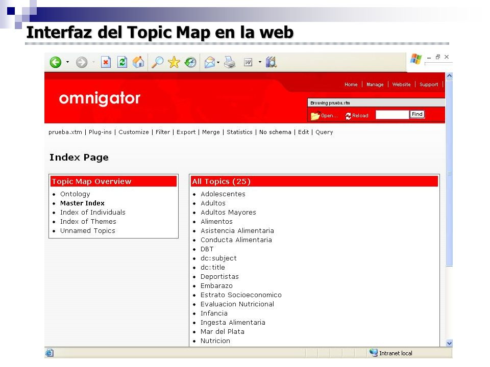 Interfaz del Topic Map en la web