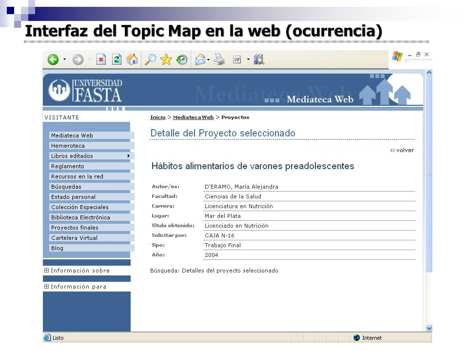 Interfaz del Topic Map en la web (ocurrencia)