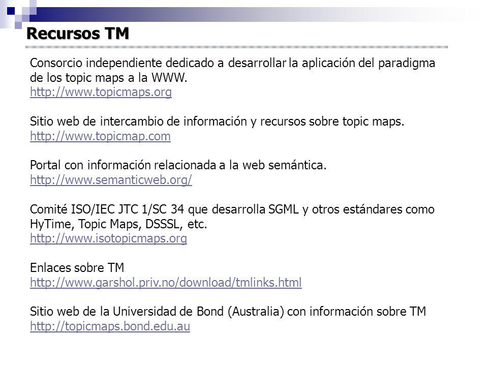 Recursos TM Consorcio independiente dedicado a desarrollar la aplicación del paradigma de los topic maps a la WWW. http://www.topicmaps.org.