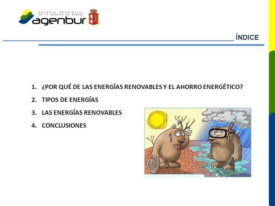 ÍNDICE ¿POR QUÉ DE LAS ENERGÍAS RENOVABLES Y EL AHORRO ENERGÉTICO TIPOS DE ENERGÍAS. LAS ENERGÍAS RENOVABLES.