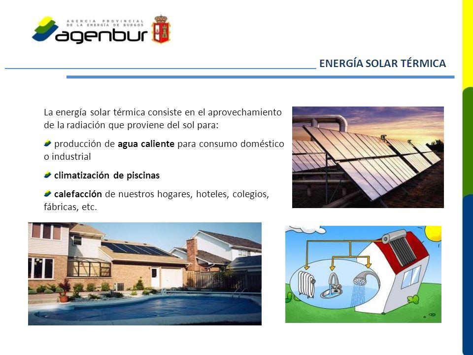 ENERGÍA SOLAR TÉRMICA La energía solar térmica consiste en el aprovechamiento de la radiación que proviene del sol para: