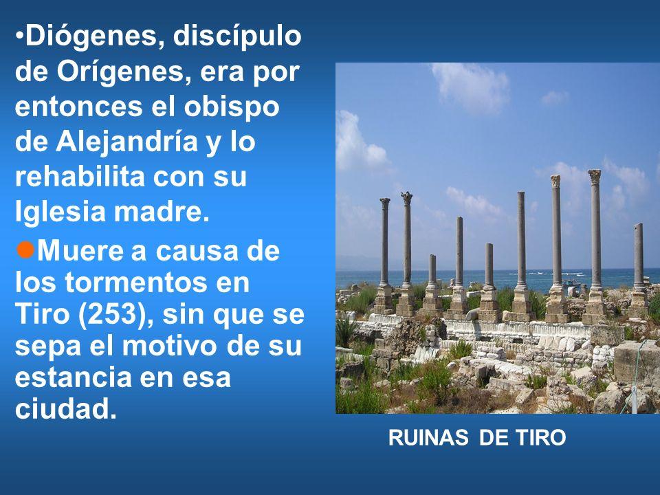 Diógenes, discípulo de Orígenes, era por entonces el obispo de Alejandría y lo rehabilita con su Iglesia madre.