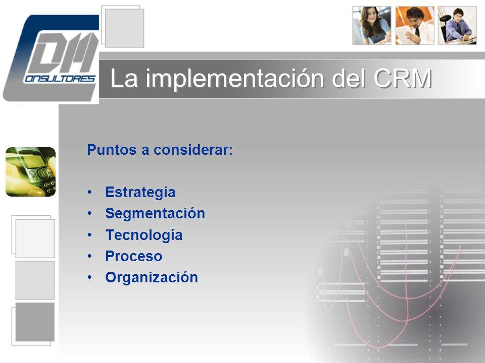 La implementación del CRM