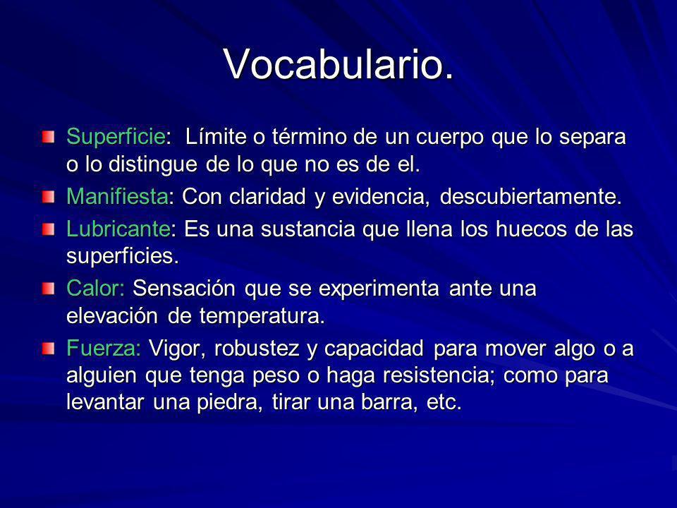 Vocabulario. Superficie: Límite o término de un cuerpo que lo separa o lo distingue de lo que no es de el.