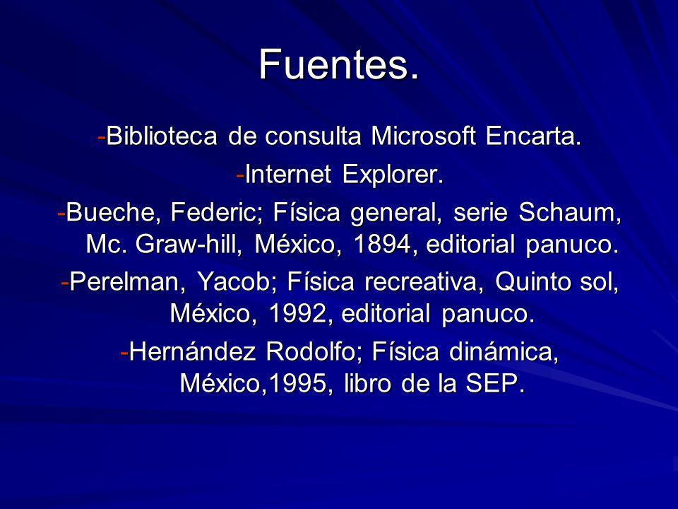 Fuentes. -Biblioteca de consulta Microsoft Encarta.