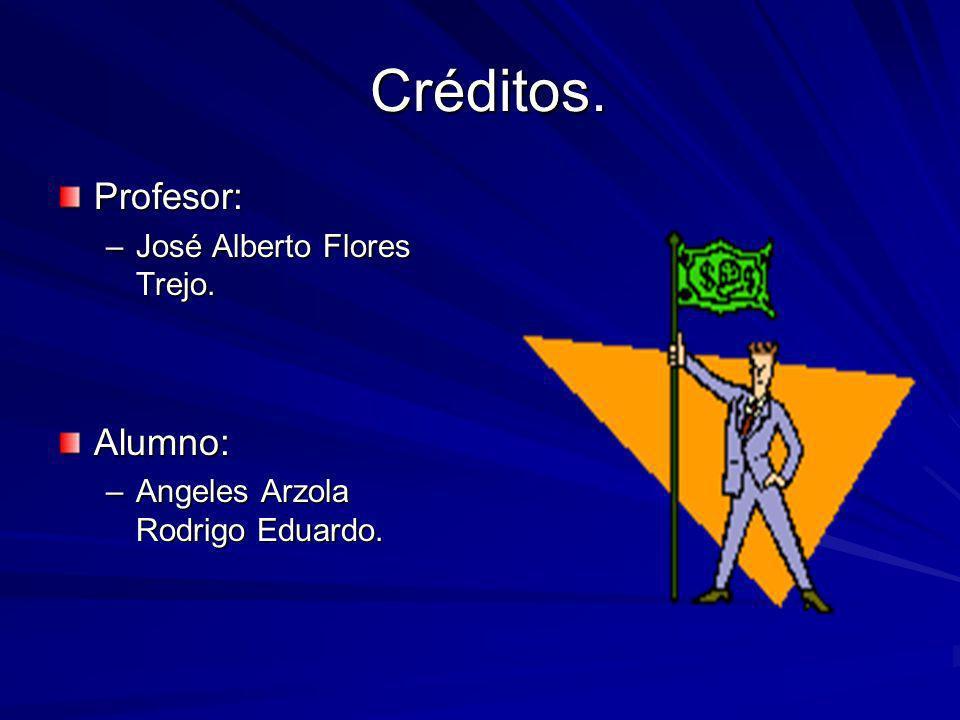 Créditos. Profesor: Alumno: José Alberto Flores Trejo.
