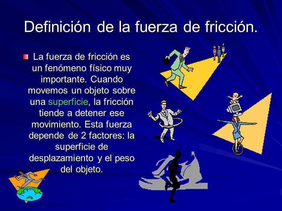 Definición de la fuerza de fricción.