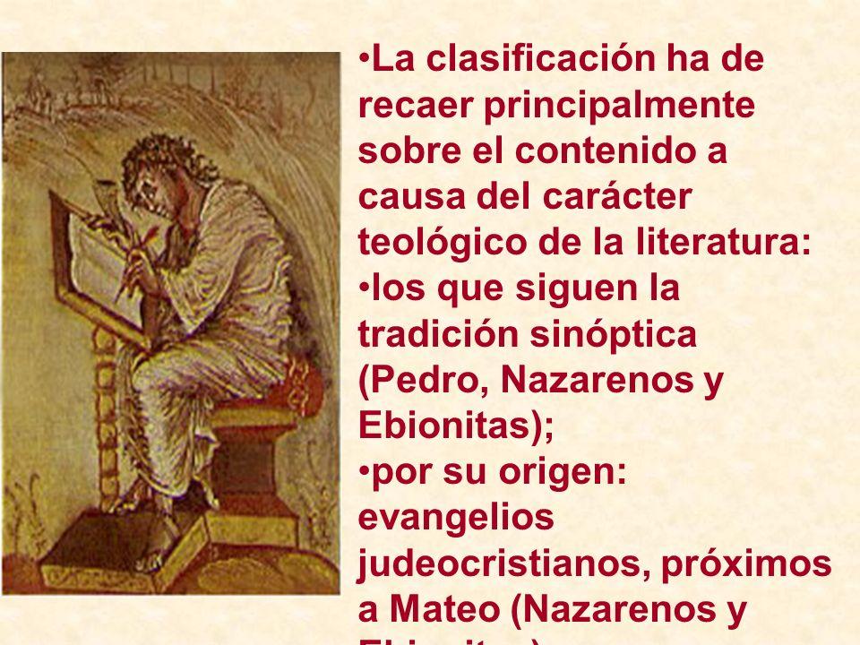 La clasificación ha de recaer principalmente sobre el contenido a causa del carácter teológico de la literatura: