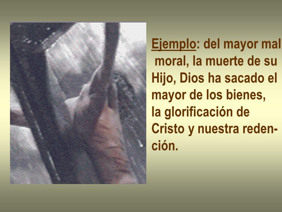 Ejemplo: del mayor mal moral, la muerte de su. Hijo, Dios ha sacado el. mayor de los bienes, la glorificación de.
