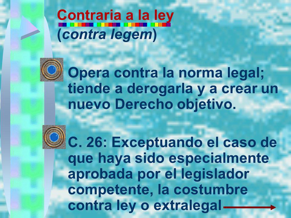 Contraria a la ley (contra legem) Opera contra la norma legal; tiende a derogarla y a crear un nuevo Derecho objetivo.