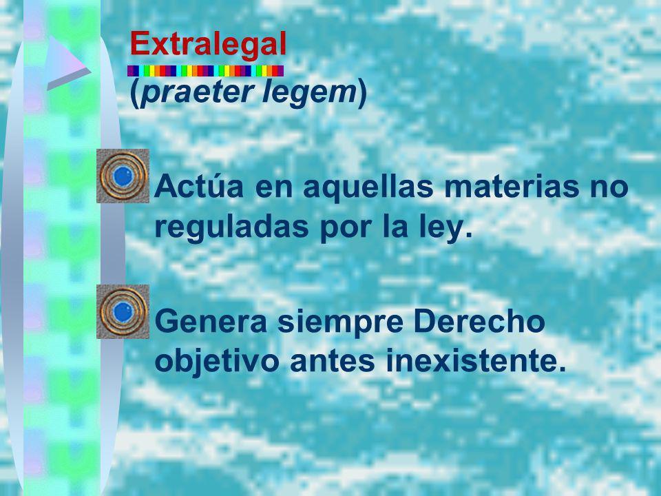 Extralegal (praeter legem) Actúa en aquellas materias no reguladas por la ley.