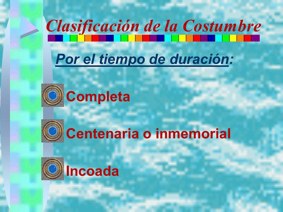 Clasificación de la Costumbre