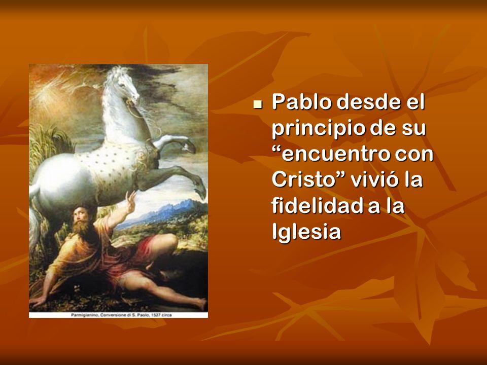 Pablo desde el principio de su encuentro con Cristo vivió la fidelidad a la Iglesia