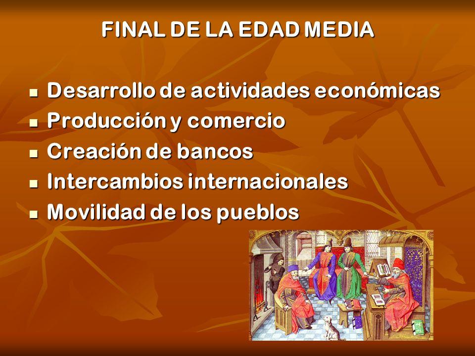 FINAL DE LA EDAD MEDIA Desarrollo de actividades económicas. Producción y comercio. Creación de bancos.