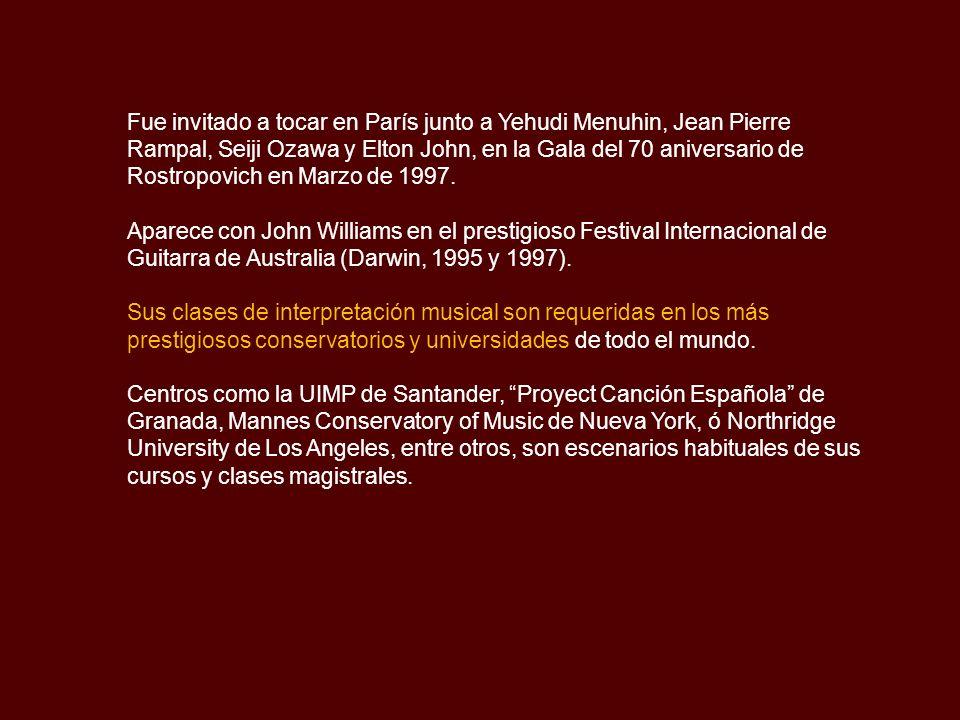 Fue invitado a tocar en París junto a Yehudi Menuhin, Jean Pierre Rampal, Seiji Ozawa y Elton John, en la Gala del 70 aniversario de Rostropovich en Marzo de 1997.