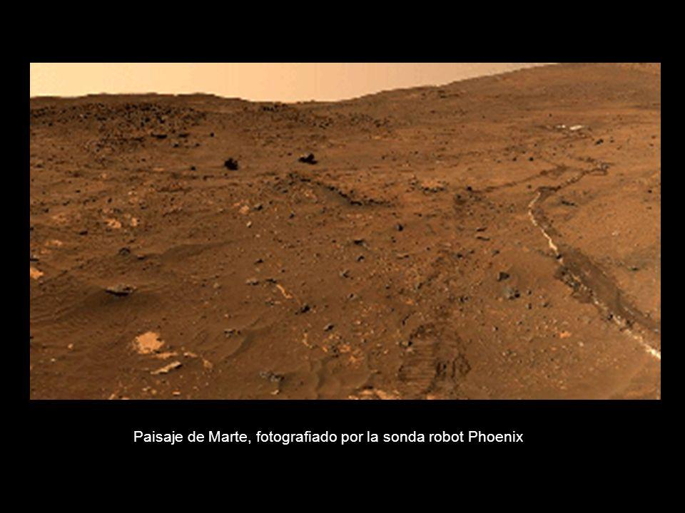 Paisaje de Marte, fotografiado por la sonda robot Phoenix