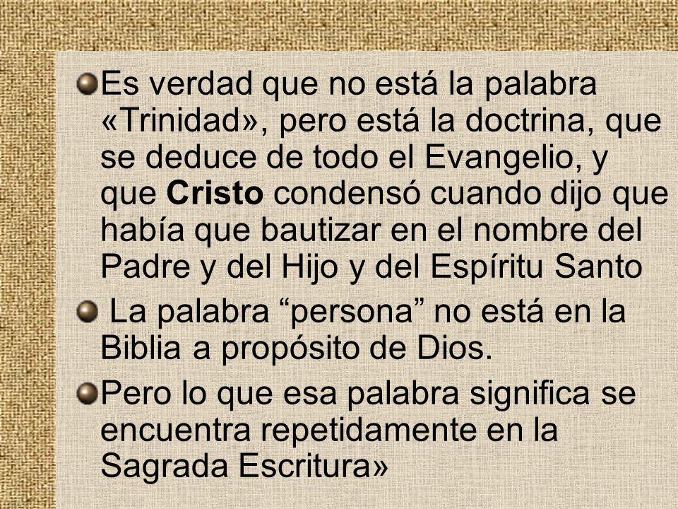 Es verdad que no está la palabra «Trinidad», pero está la doctrina, que se deduce de todo el Evangelio, y que Cristo condensó cuando dijo que había que bautizar en el nombre del Padre y del Hijo y del Espíritu Santo