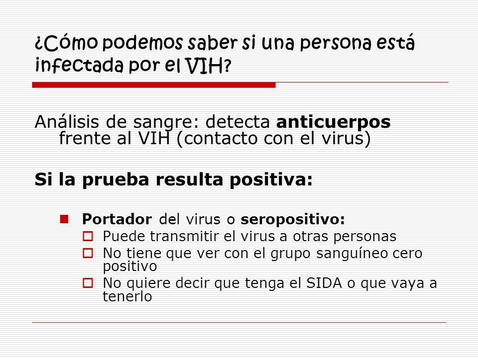 ¿Cómo podemos saber si una persona está infectada por el VIH