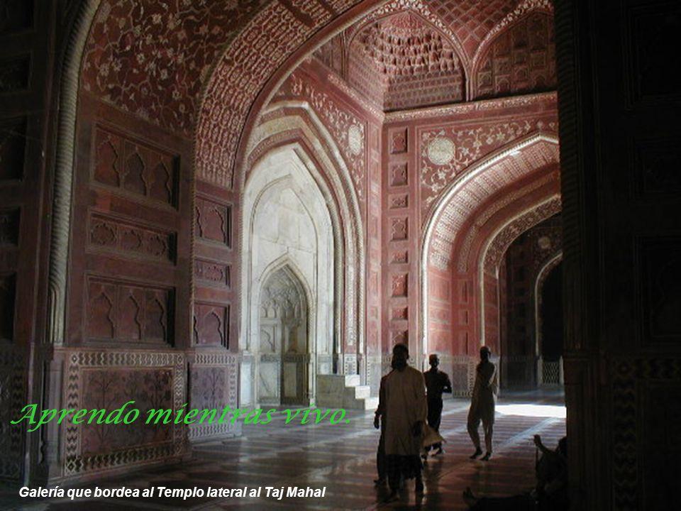 Aprendo mientras vivo. Galería que bordea al Templo lateral al Taj Mahal