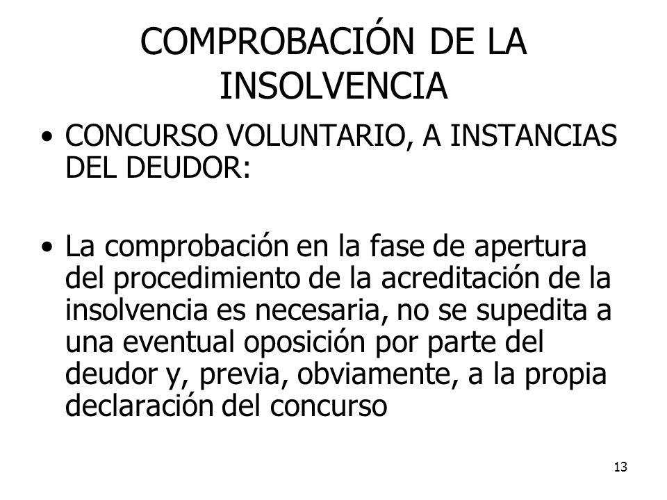 COMPROBACIÓN DE LA INSOLVENCIA