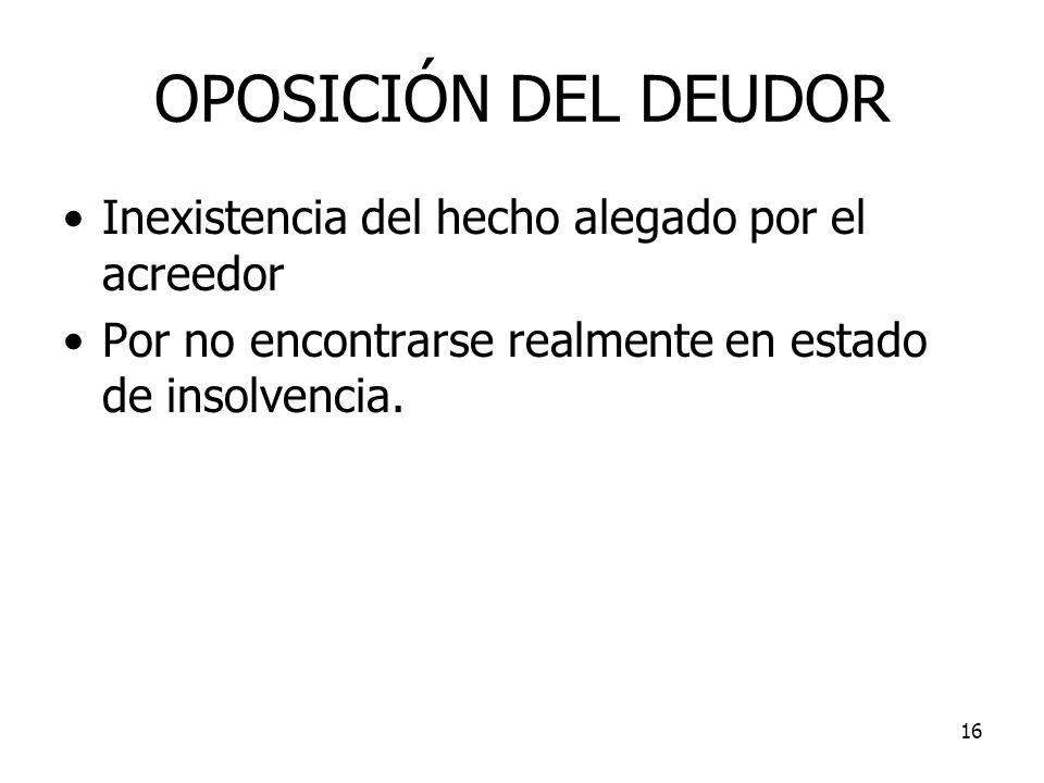 OPOSICIÓN DEL DEUDOR Inexistencia del hecho alegado por el acreedor