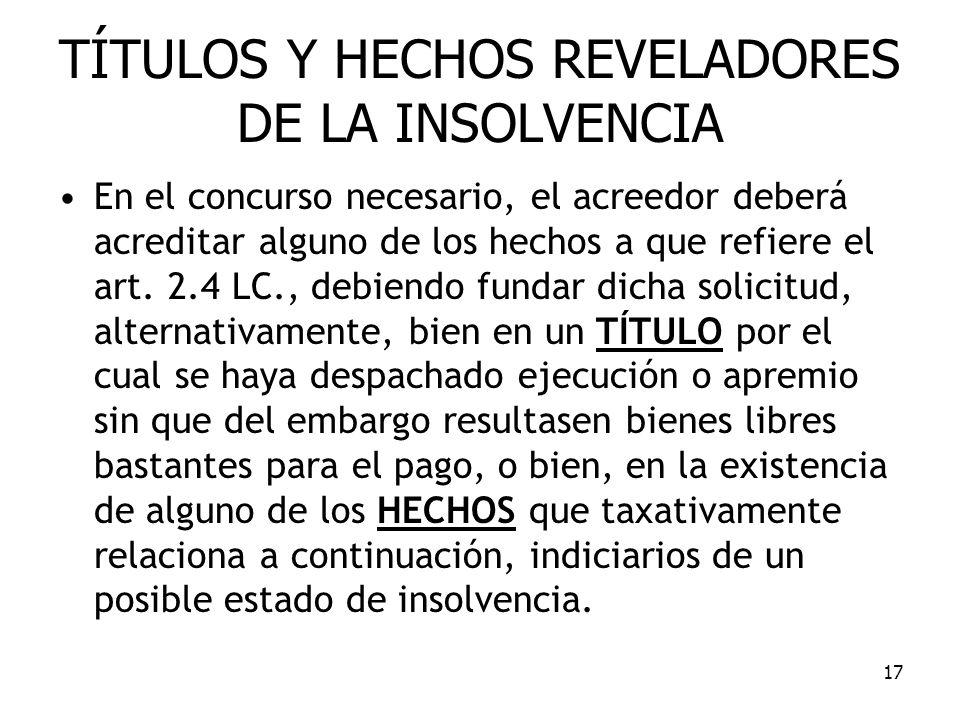 TÍTULOS Y HECHOS REVELADORES DE LA INSOLVENCIA