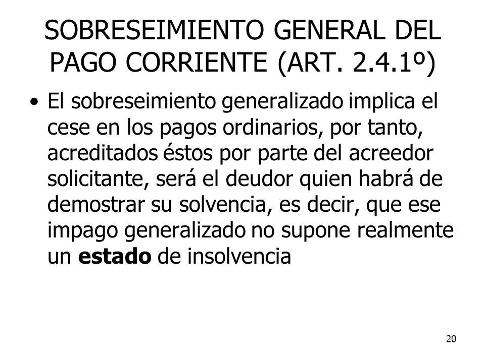 SOBRESEIMIENTO GENERAL DEL PAGO CORRIENTE (ART. 2.4.1º)