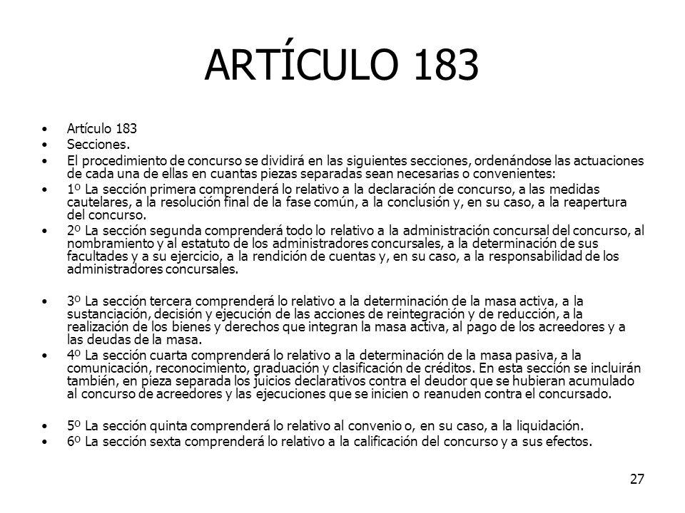 ARTÍCULO 183 Artículo 183 Secciones.
