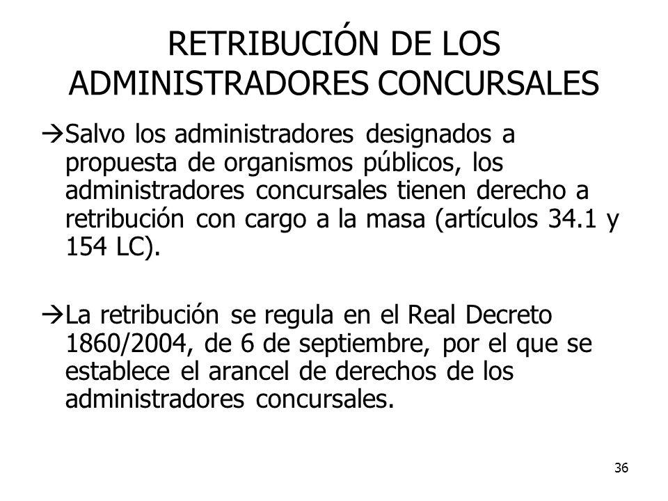 RETRIBUCIÓN DE LOS ADMINISTRADORES CONCURSALES