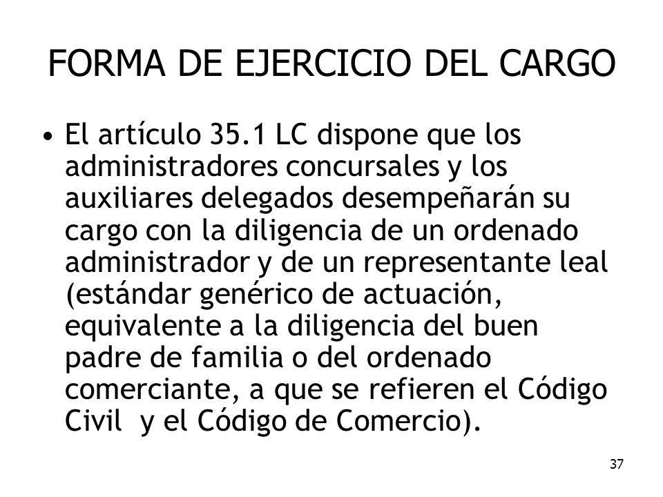 FORMA DE EJERCICIO DEL CARGO
