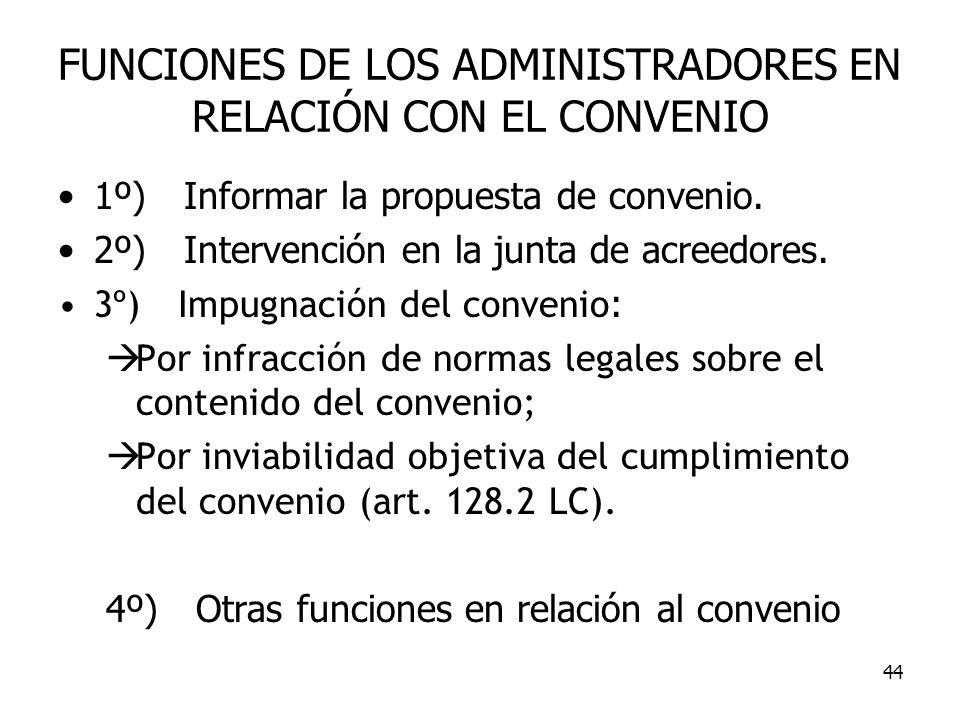 FUNCIONES DE LOS ADMINISTRADORES EN RELACIÓN CON EL CONVENIO
