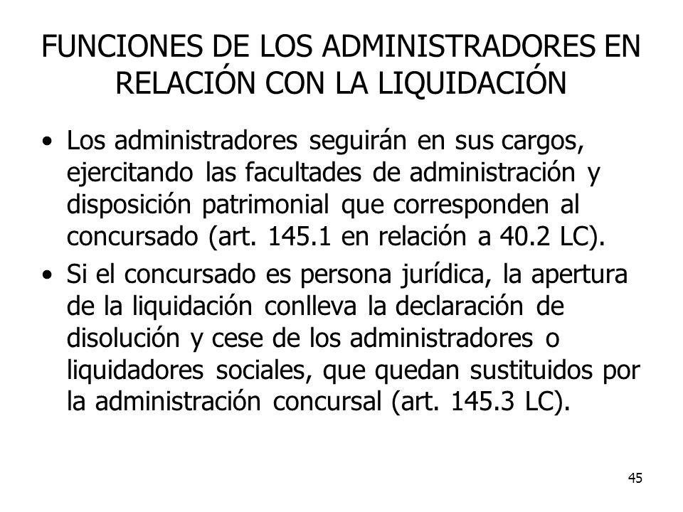 FUNCIONES DE LOS ADMINISTRADORES EN RELACIÓN CON LA LIQUIDACIÓN
