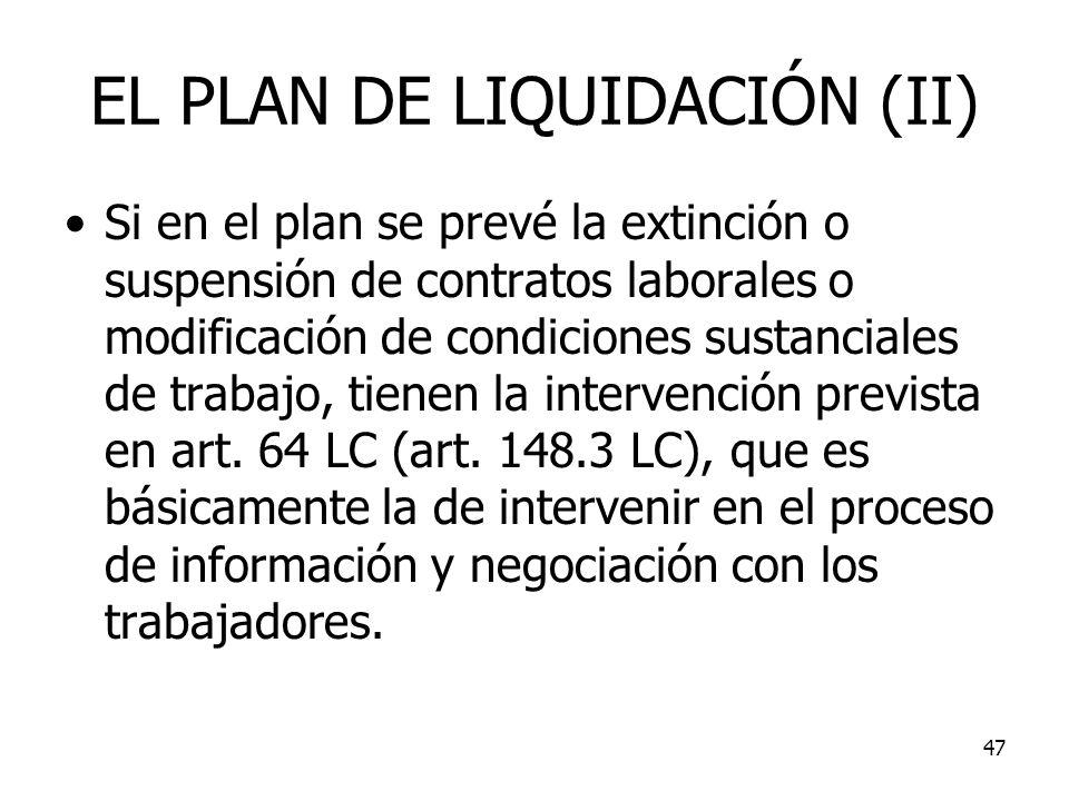 EL PLAN DE LIQUIDACIÓN (II)