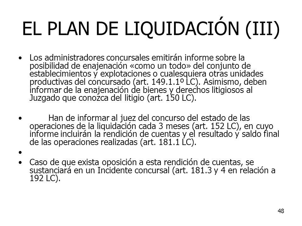 EL PLAN DE LIQUIDACIÓN (III)