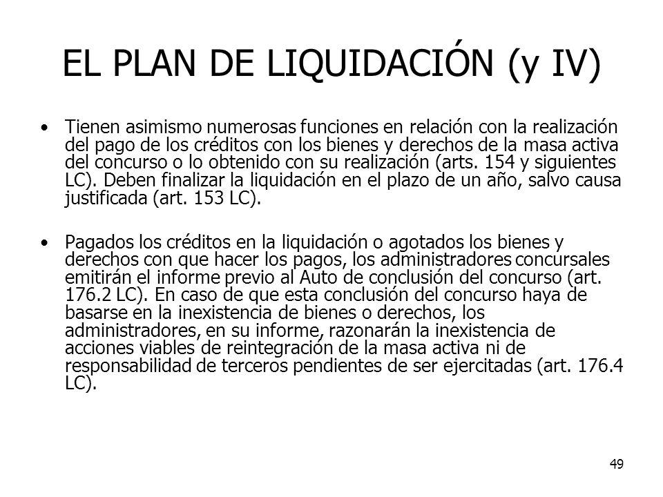 EL PLAN DE LIQUIDACIÓN (y IV)