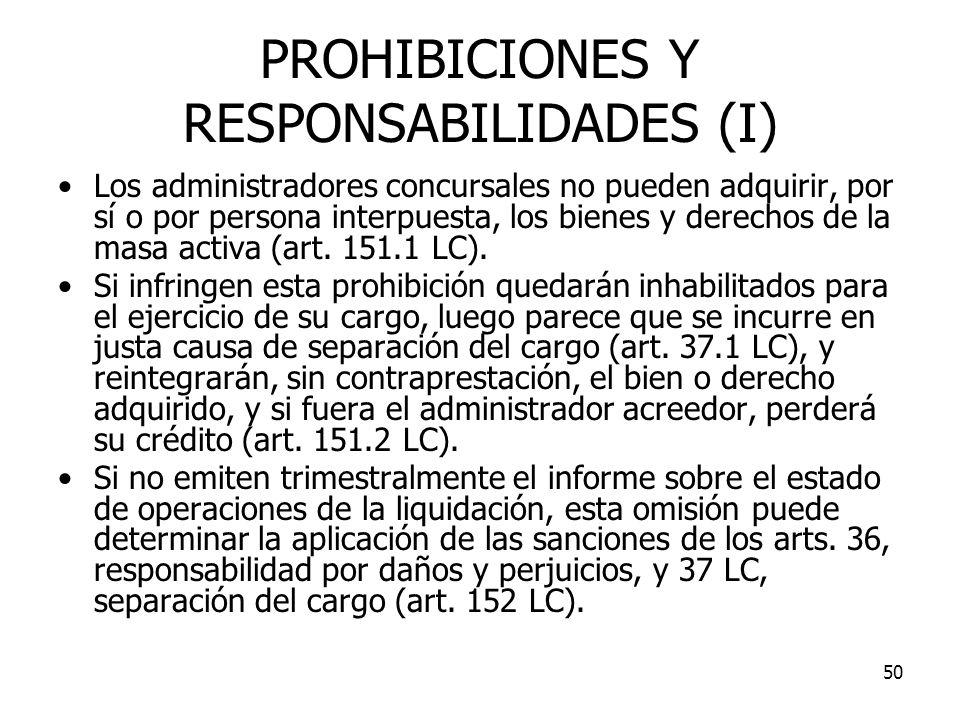 PROHIBICIONES Y RESPONSABILIDADES (I)