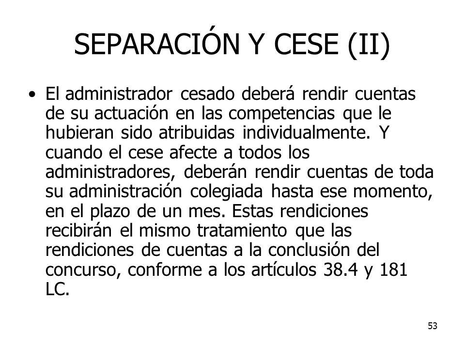 SEPARACIÓN Y CESE (II)