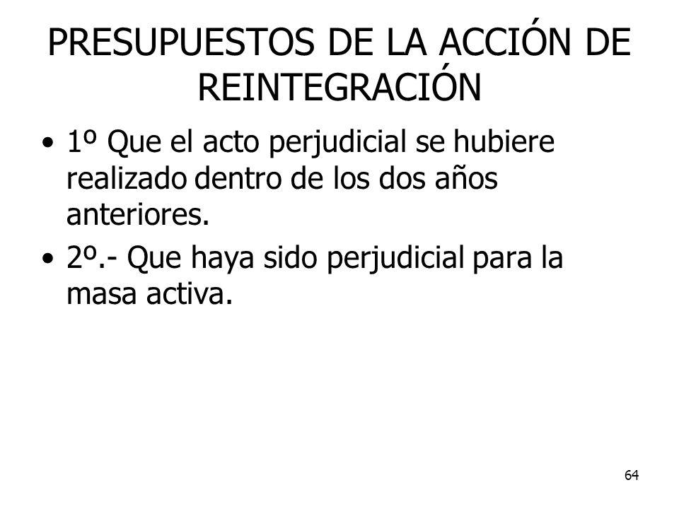 PRESUPUESTOS DE LA ACCIÓN DE REINTEGRACIÓN