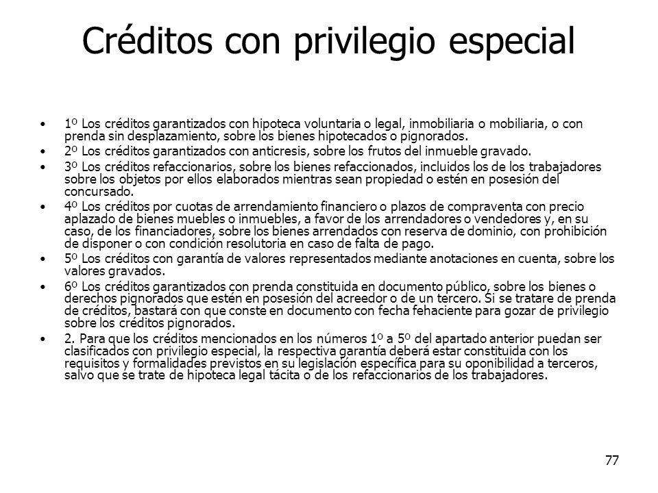 Créditos con privilegio especial