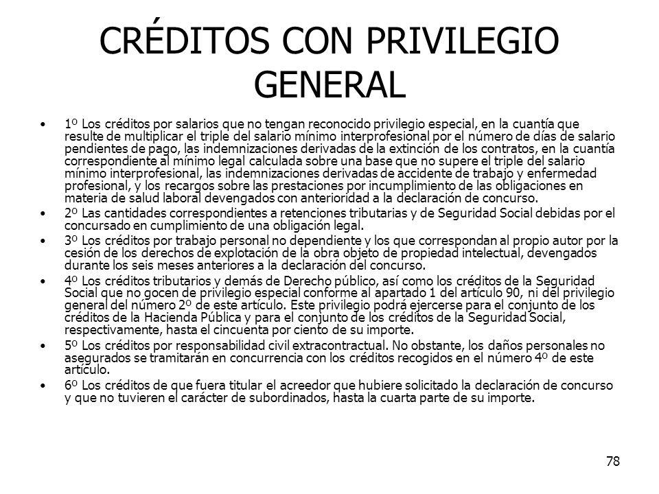 CRÉDITOS CON PRIVILEGIO GENERAL
