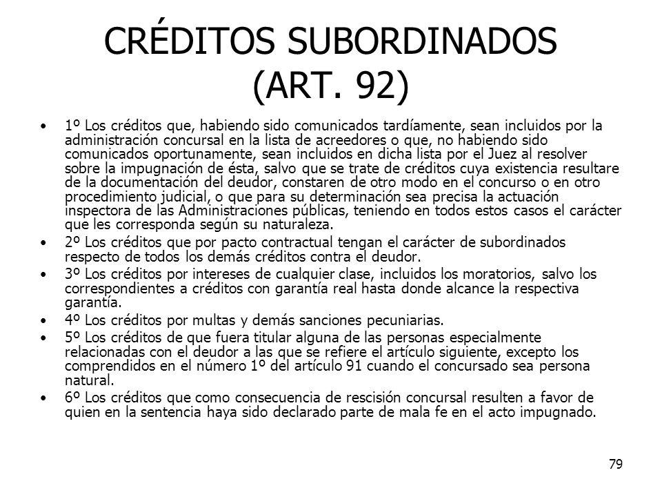 CRÉDITOS SUBORDINADOS (ART. 92)