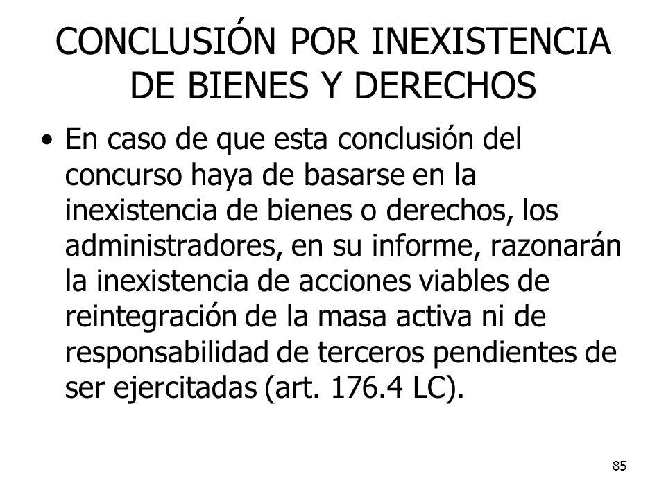 CONCLUSIÓN POR INEXISTENCIA DE BIENES Y DERECHOS