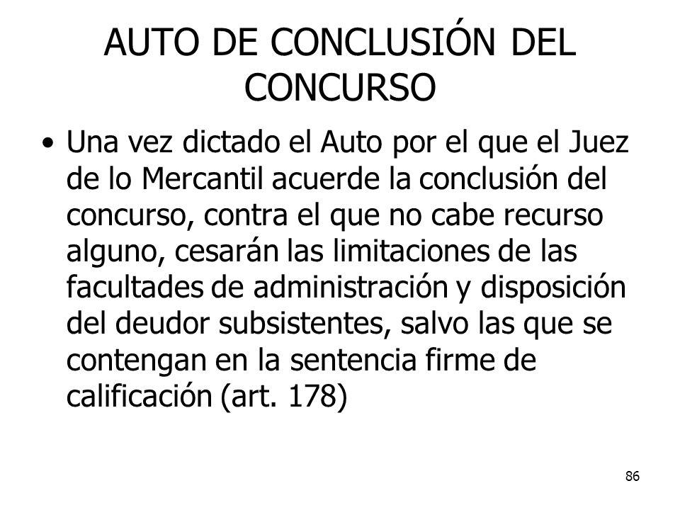 AUTO DE CONCLUSIÓN DEL CONCURSO