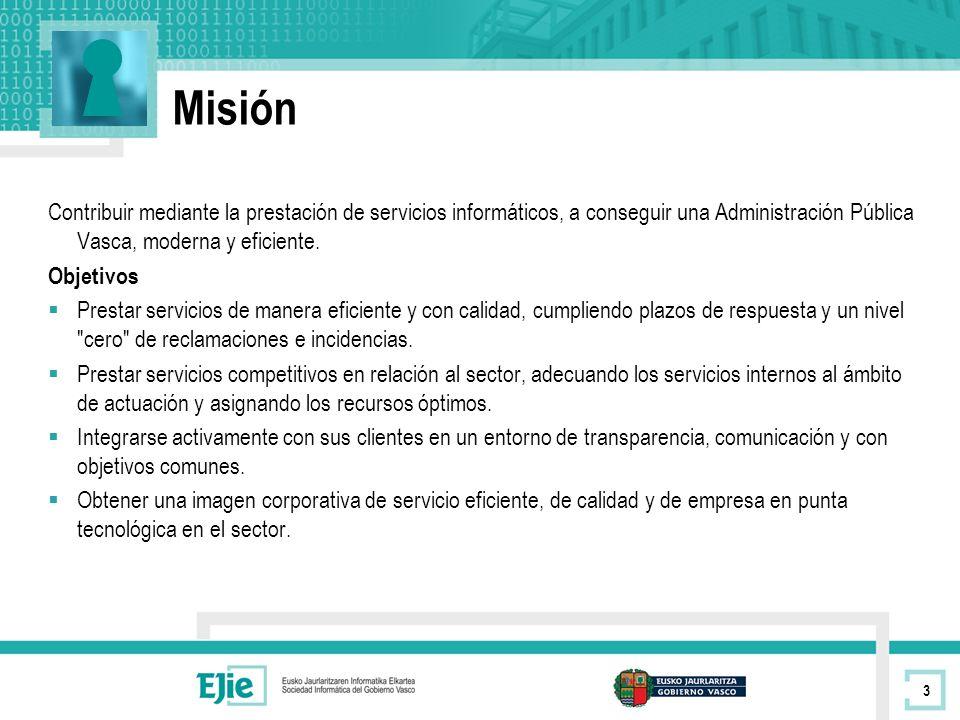 Misión Contribuir mediante la prestación de servicios informáticos, a conseguir una Administración Pública Vasca, moderna y eficiente.