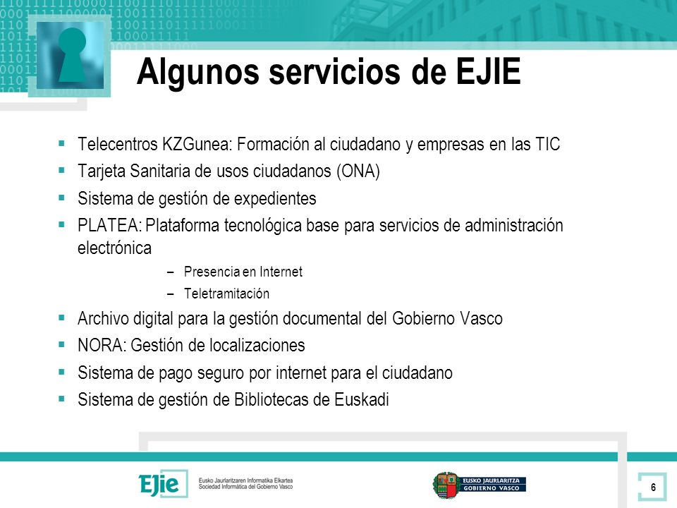 Algunos servicios de EJIE