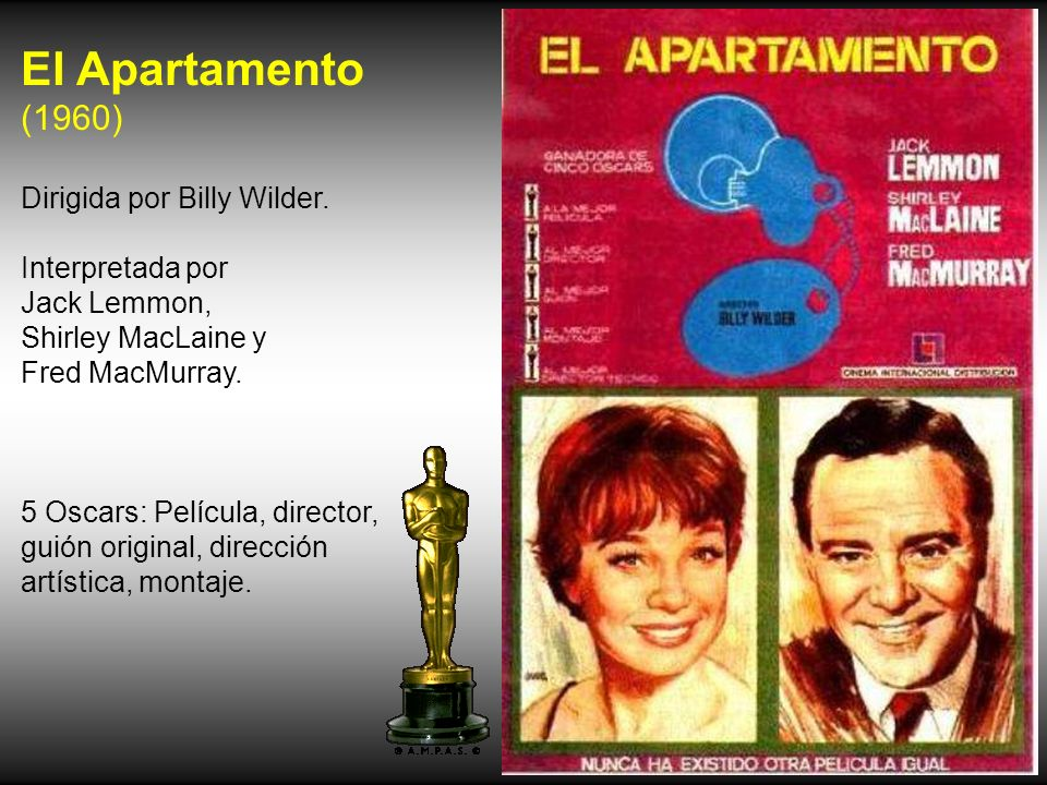 El Apartamento (1960) Dirigida por Billy Wilder. Interpretada por