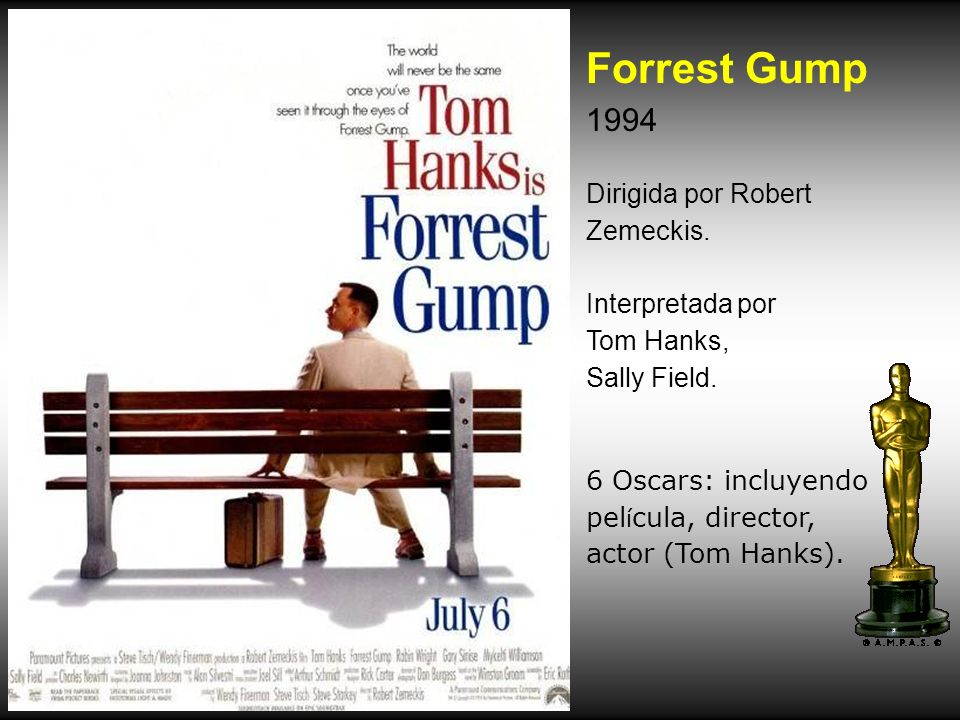 Forrest Gump 1994 Dirigida por Robert Zemeckis. Interpretada por